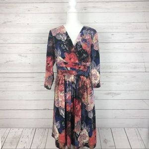 Adrianna Papell Floral Faux Wrap Sweater Dress